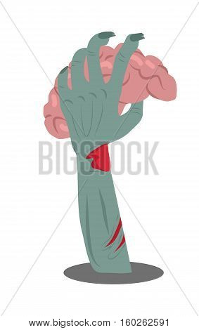 Zombie hand sticking out of the ground with brains flat vector illustration isolated on white. Hungry living dead with fresh human flesh. Humorous concept for halloween greeting card, party decoration
