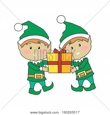 Christmas elves holding gift box. Two xmas cartoon characters carrying new year present. Santas helper elf isolated on white. Winter season holiday greeting card banner poster design. Vector