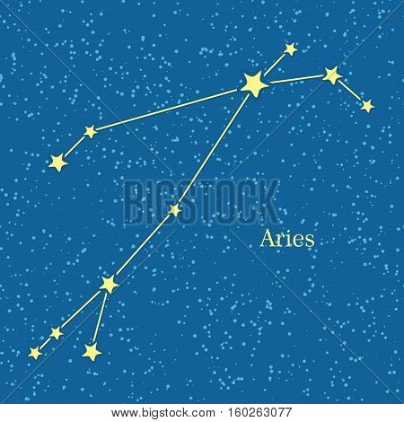 Aries zodiac symbol on background of cosmic sky. First astrological sign in the Zodiac, based on the Chrysomallus, the flying ram. Horoscope sign of zodiac. Astrology and mythology concept. Vector