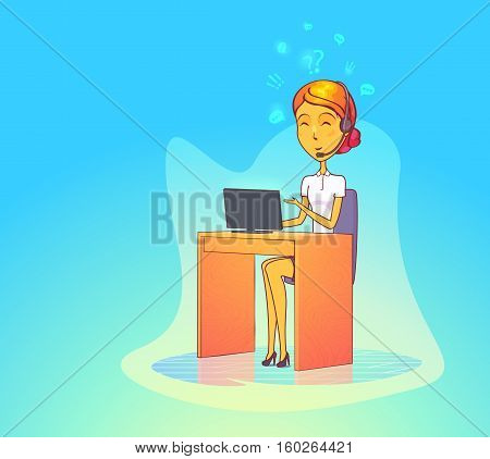 Woman operator with headset at call center. Communication support girl or telephone service woman. For woman worker consultant at office or call center assistant, sales manager, customer phone help