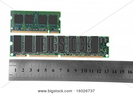 close up image of memory module over white