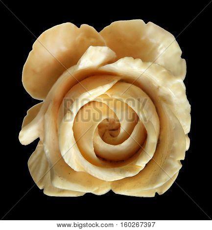 Elephant Ivory Carved Rose Pendant isolated on black background