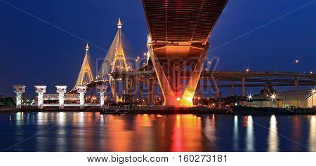 Panorama of Mega Bhumibol Industrial Bridge Bangkok at dusk