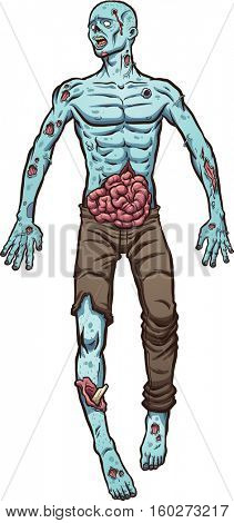Cartoon zombie laying on the ground. Vector clip art illustration with simple gradients. All in a single layer.