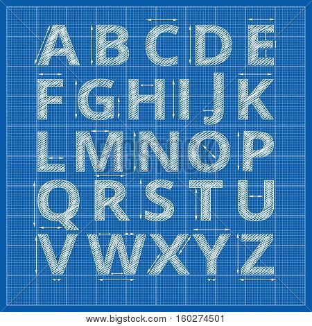 Blueprint alphabet. Vector drafting blueprint paper letters. Sketch alphabet artistic with arrow measurement illustration