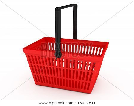 Shopping basket over white background