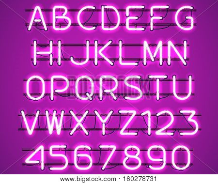 Glowing Purple Neon Alphabet with letters from A to Z and digits from 0 to 9 with wires tubes brackets and holders. Shining and glowing neon effect. Vector illustration.