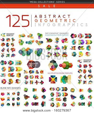 Vector mega collection of web abstract business infographic templates - geometric shapes with options elements for business background, numbered banners, graphic website