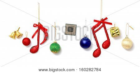 Picture of a Christmas decotarion items and computer processor on white background