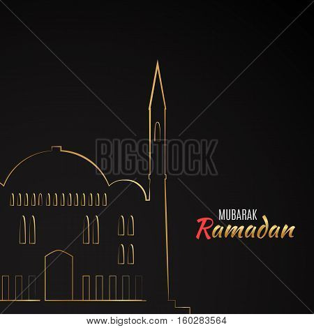Single flat icon of Mosque isolated on black background. Logo of islamic holy building. Ramadan Kareem pattern. Traditional arabic architecture. Asian construction. Symbol of east. illustration