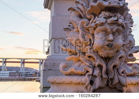 Architect Details Of Fountain In Lisbon