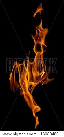yellow flame isolated on black background