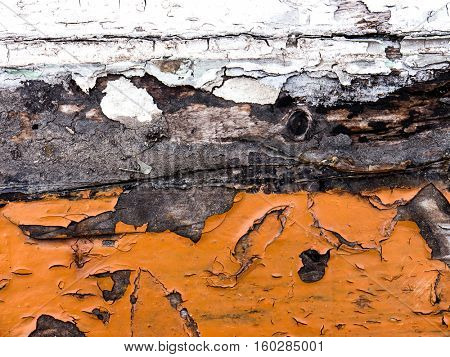 The old colored painted wooden wall.