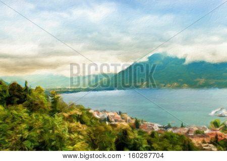Lake Lugano. Switzerland. Europe. Oil painting effect.