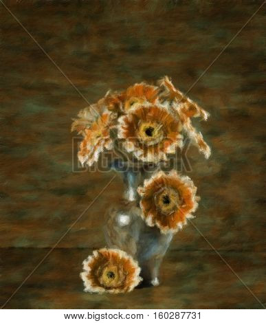 Still-life with a bouquet of asters in a vase. Oil painting effect.
