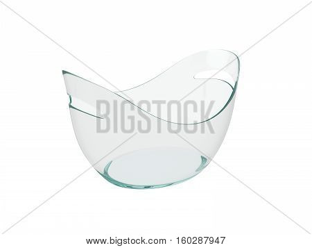 Oval clear plastic bucket Isolated on White Background, 3D rendering