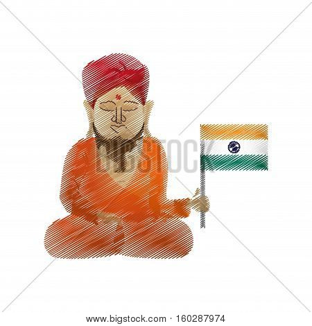 buddha colored hand draw sitting with indian flag vector illustration eps 10