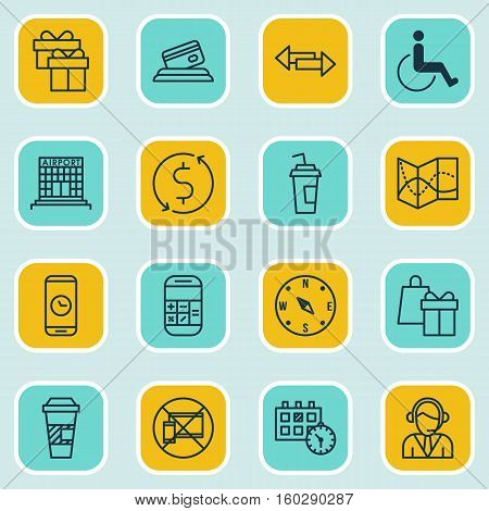 Set Of 16 Airport Icons. Can Be Used For Web, Mobile, UI And Infographic Design. Includes Elements Such As Card, Direction, Mobile And More.