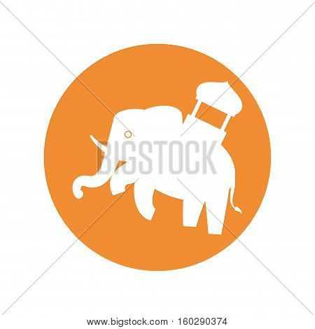 silhouette indian elephant festival yellow bakcground vector illustration eps 10