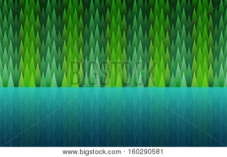 Forest and lake seamless. Abstract nature landscape. Vector illustration. Elements are layered separately in vector file.