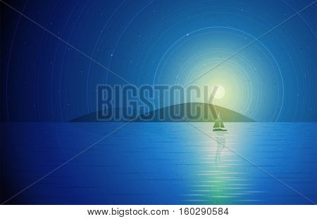Sailboat in the night. Sailboat, islands and full moon in the night. Vector illustration. Elements are layered separately in vector file.