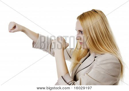 Woman Throwing A Punch On White Background