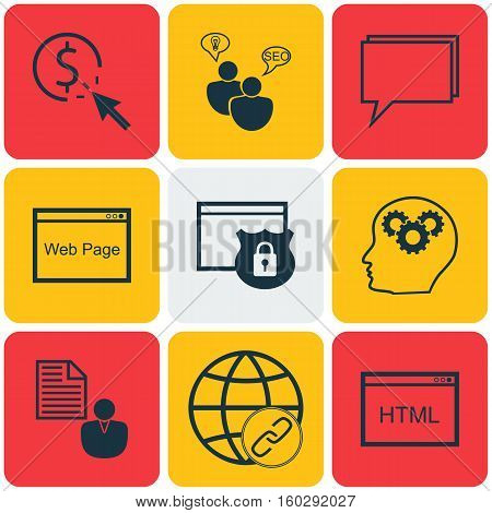 Set Of 9 Advertising Icons. Can Be Used For Web, Mobile, UI And Infographic Design. Includes Elements Such As Research, Website, Security And More.