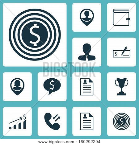 Set Of 12 Hr Icons. Can Be Used For Web, Mobile, UI And Infographic Design. Includes Elements Such As Cellular, Dollar, Check And More.