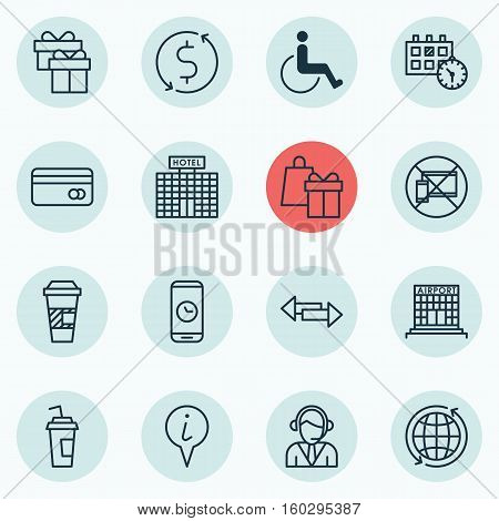 Set Of 16 Travel Icons. Can Be Used For Web, Mobile, UI And Infographic Design. Includes Elements Such As Accessibility, Paper, Paralyzed And More.