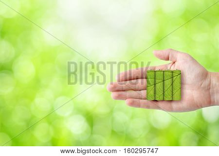 Batteries in hand on green nature background. Ecological energy concept
