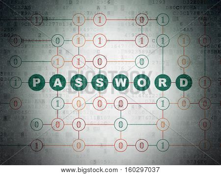 Privacy concept: Painted green text Password on Digital Data Paper background with Binary Code