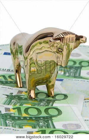 Euro banknotes. Bull and Bear