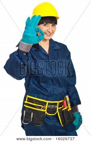 Successful Constructor Worker Female