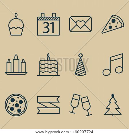 Set Of 12 Celebration Icons. Can Be Used For Web, Mobile, UI And Infographic Design. Includes Elements Such As Envelope, Party, Calendar And More.