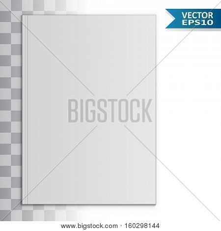 Blank magazine front page vector template with shadow effect. EPS10 file with transparency.