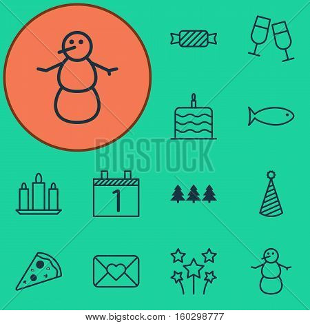 Set Of 12 New Year Icons. Can Be Used For Web, Mobile, UI And Infographic Design. Includes Elements Such As Cake, Festive, Piece And More.