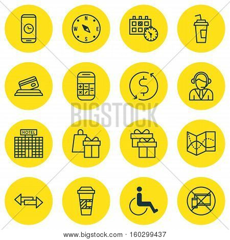Set Of 16 Transportation Icons. Can Be Used For Web, Mobile, UI And Infographic Design. Includes Elements Such As No, Disabled, Building And More.