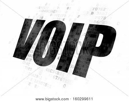 Web design concept: Pixelated black text VOIP on Digital background