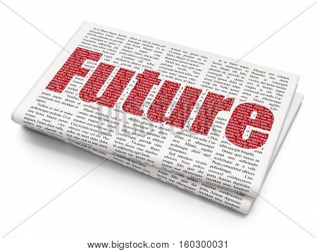 Time concept: Pixelated red text Future on Newspaper background, 3D rendering