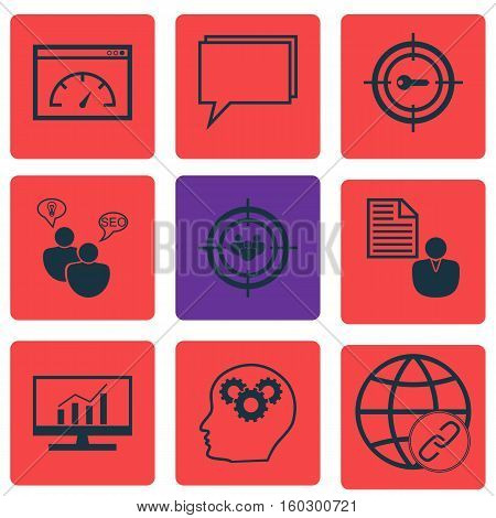 Set Of 9 Marketing Icons. Can Be Used For Web, Mobile, UI And Infographic Design. Includes Elements Such As Dynamics, Brief, Keyword And More.