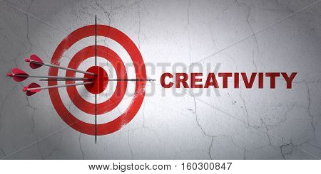 Success advertising concept: arrows hitting the center of target, Red Creativity on wall background, 3D rendering