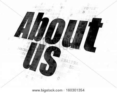 Marketing concept: Pixelated black text About Us on Digital background