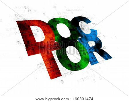 Healthcare concept: Pixelated multicolor text Doctor on Digital background