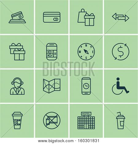 Set Of 16 Transportation Icons. Can Be Used For Web, Mobile, UI And Infographic Design. Includes Elements Such As Direction, Card, Payment And More.