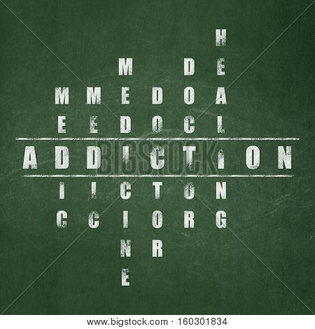 Health concept: Painted White word Addiction in solving Crossword Puzzle on School board background, School Board