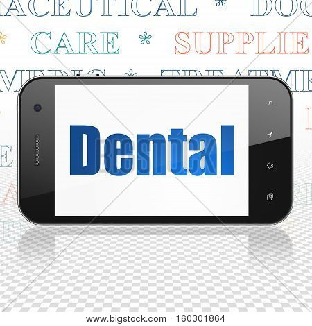 Health concept: Smartphone with  blue text Dental on display,  Tag Cloud background, 3D rendering