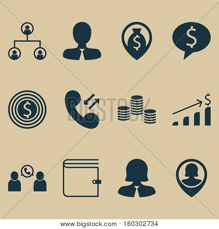 Set Of 12 Management Icons. Can Be Used For Web, Mobile, UI And Infographic Design. Includes Elements Such As Increase, Success, Purse And More.