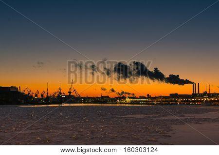 Waterfront with Lieutenant Schmidt Embankment in St. Petersburg, Russia