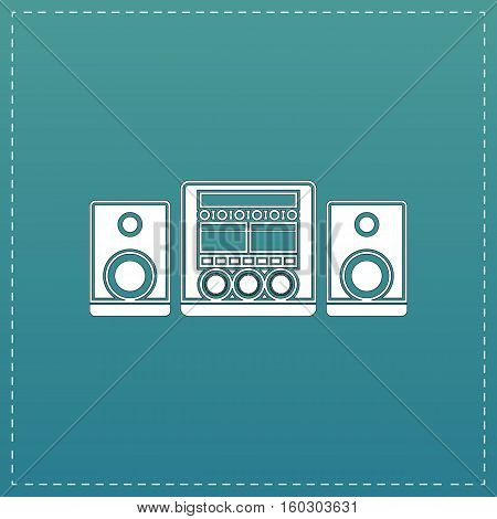 Stereo system. White flat icon with black stroke on blue background