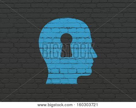 Learning concept: Painted blue Head With Keyhole icon on Black Brick wall background